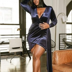 Midnight Blue Velvet Asymmetrical Dress